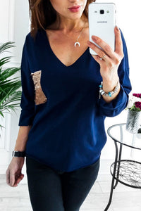 V Neck  Patch Pocket  Glitter T-Shirts