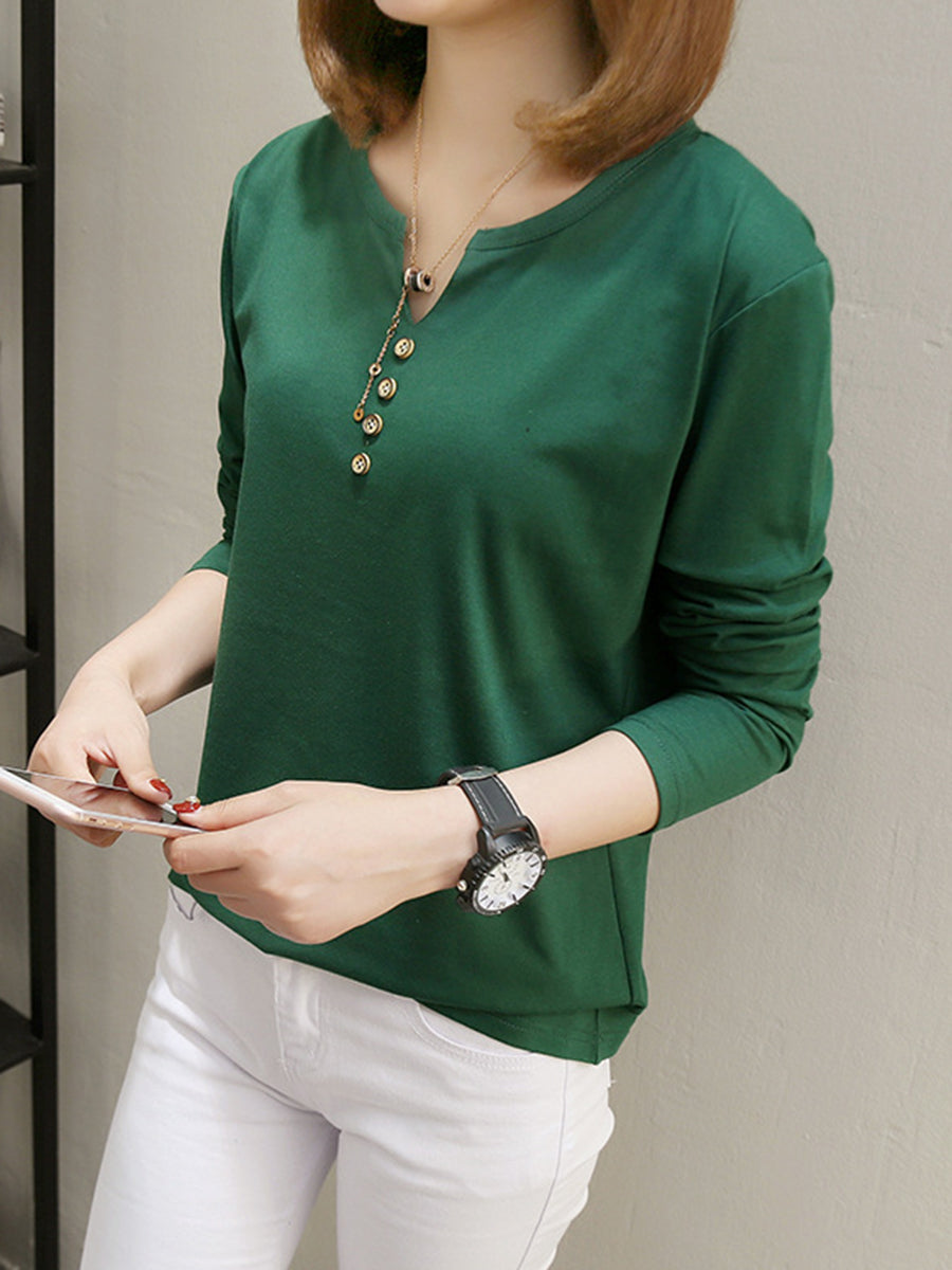 Round Neck  Single Breasted  Plain Long Sleeve T-Shirts