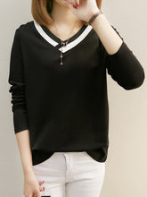V Neck  Color Block Long Sleeve T-Shirts