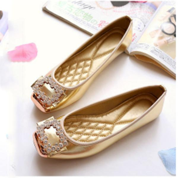 Rhinestone Square Head Ballet Flat Shoes