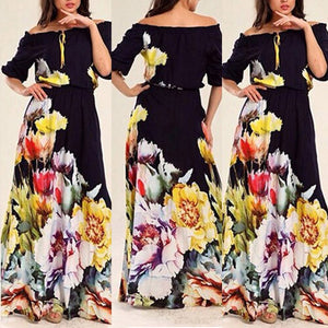 Flower Printed Puff Sleeve Cutaway Collar Expansion Vacation Dress