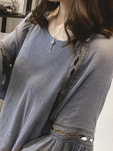 Round Neck  Cutout  Plain  Bell Sleeve Long Sleeve T-Shirts