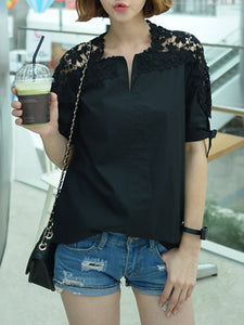V Neck  Cutout Patchwork  Plain Blouses