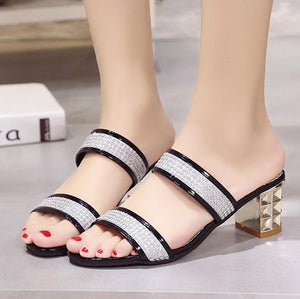 Color Block  Chunky  Mid Heeled  PU  Casual Sandals