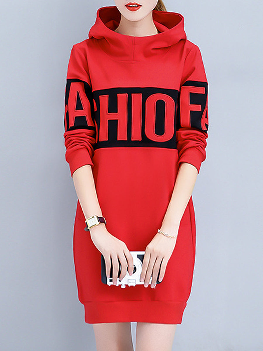 Autumn Spring  Cotton Blend  Hooded  Letters Plain  Long Sleeve Hoodies