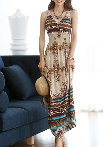 V Neck  Embossed Design  Printed Maxi Dress