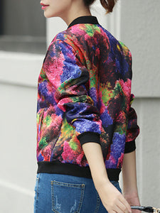 Abstract Print  Long Sleeve Jackets