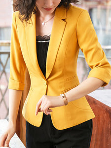 Fold-Over Collar  Single Button  Plain  Half Sleeve Blazers