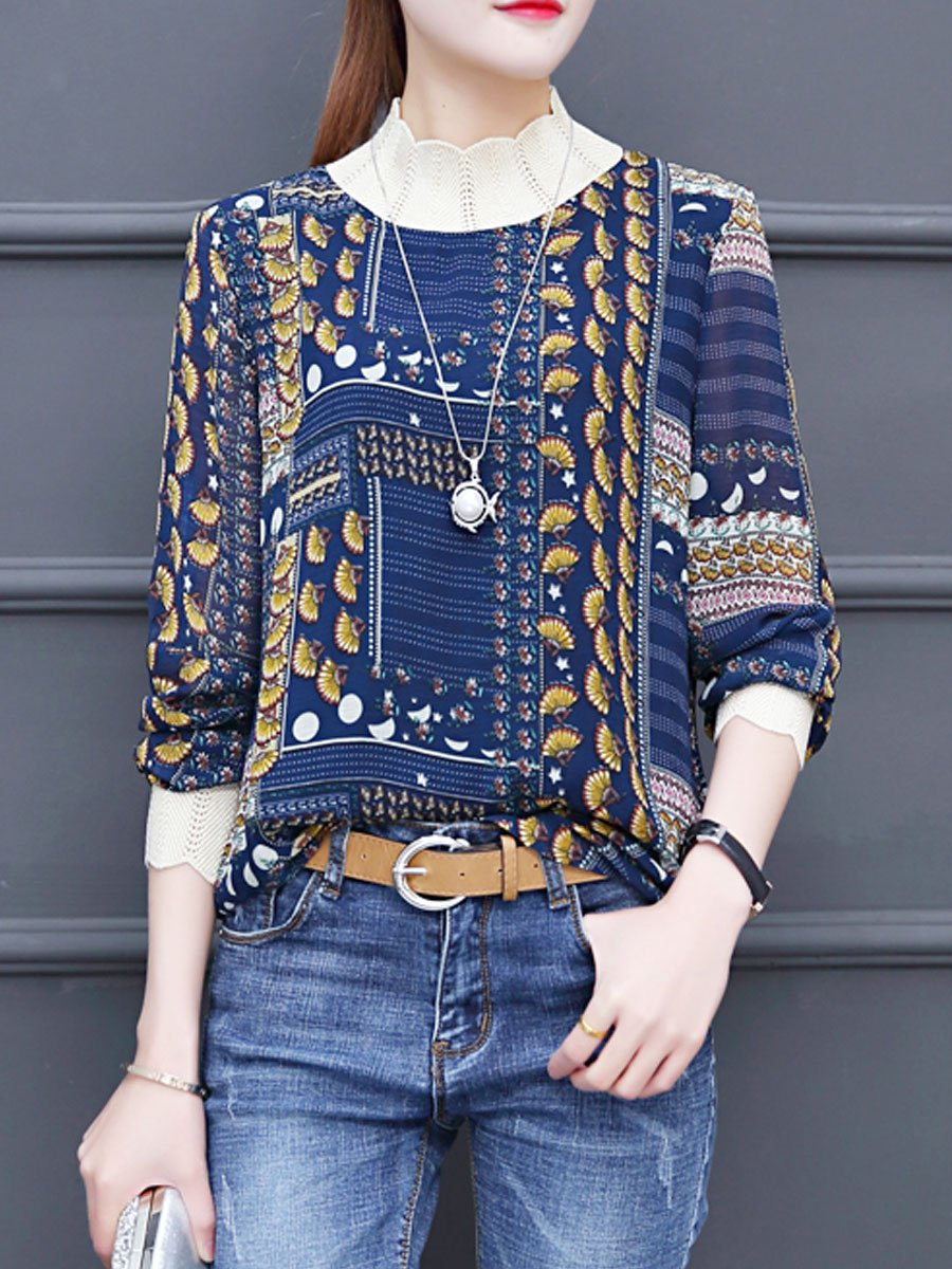 Autumn Spring  Chiffon  Women  High Neck  Patchwork  Floral Printed  Long Sleeve Blouses