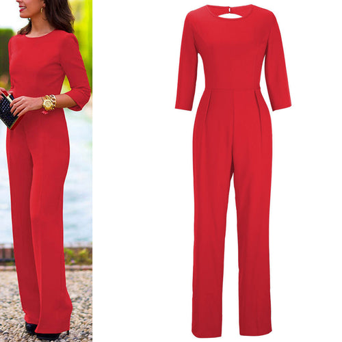 Solid Color Sexy Slim Halter Jumpsuit