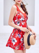 Round Neck  Scoop Back  Printed One Piece
