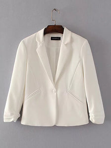 Narrow Notch Lapel  Single Button  Plain  Long Sleeve Blazers