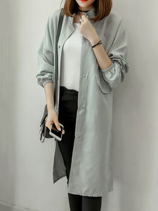 Band Collar  Flap Pocket Single Breasted  Plain  Long Sleeve Trench Coats