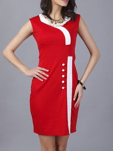 Square Neck  Color Block Bodycon Dress