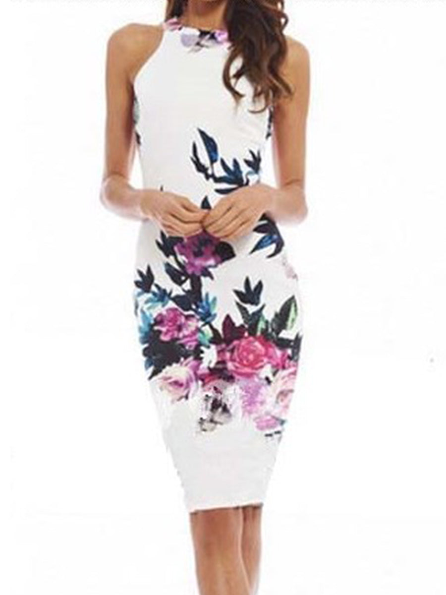 Summer Round Neck  Floral Printed Bodycon Dress
