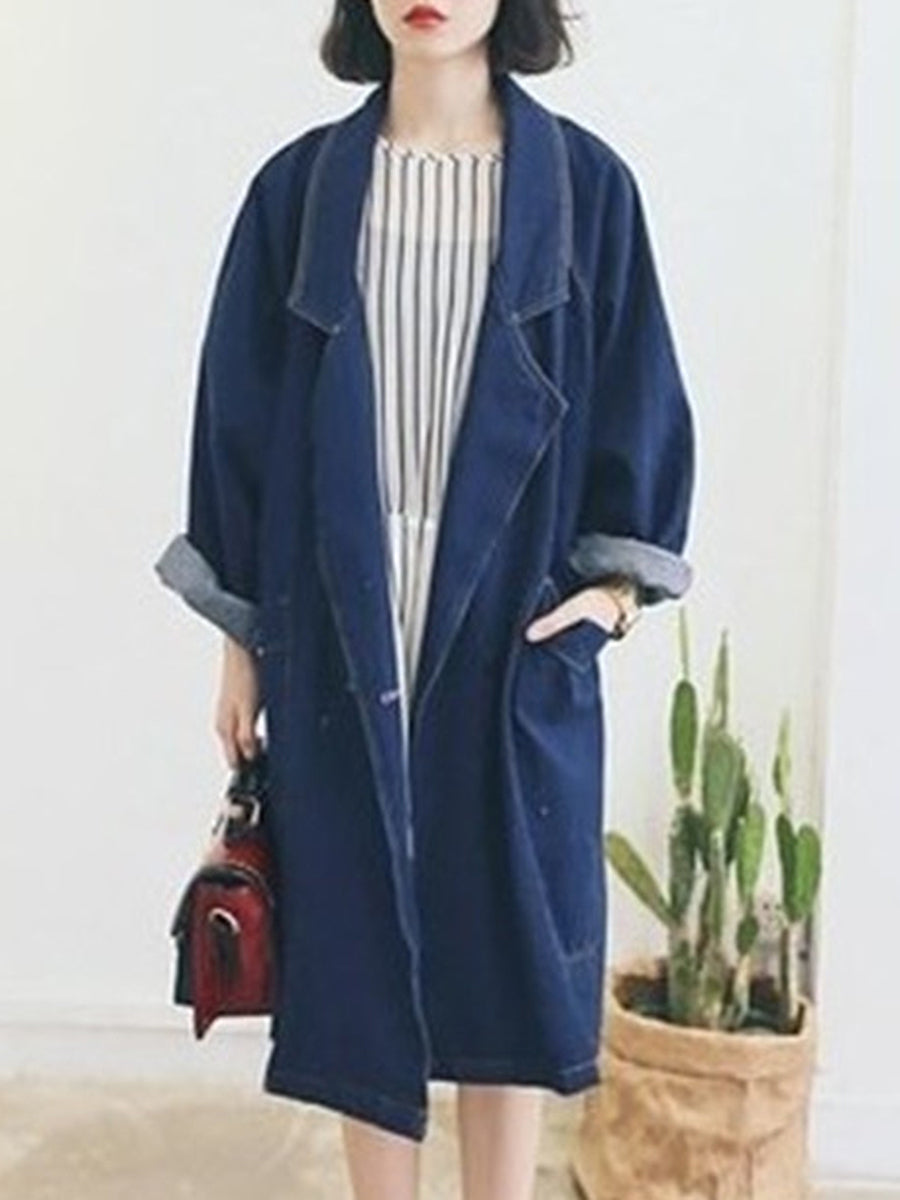 Fold-Over Collar  Plain  Long Sleeve Trench Coats