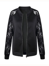 Band Collar  Zips  Lace Plain  Long Sleeve Jackets