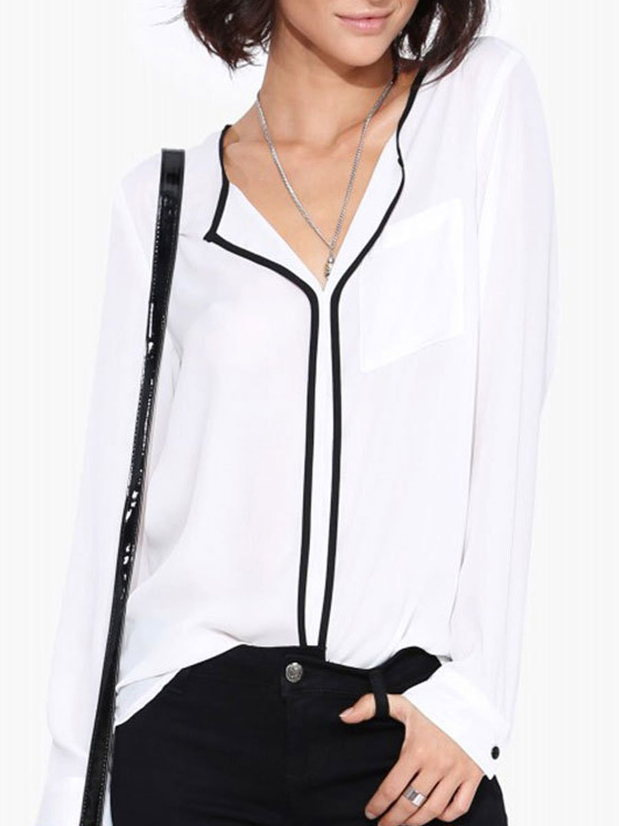 Autumn Spring  Polyester  Women  V-Neck  Patchwork  Plain  Long Sleeve Blouses