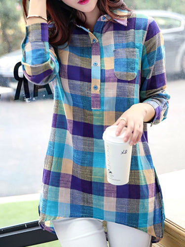 Autumn Spring  Cotton  Women  Turn Down Collar  Decorative Button  Plaid  Long Sleeve Blouses