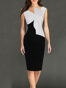 Asymmetric Neck  Color Block Bodycon Dress