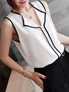 Spring Summer  Polyester  Women  V-Neck  Patchwork  Plain  Sleeveless Blouses