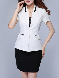 Collarless  Single Button  Color Block  Long Sleeve Blazers