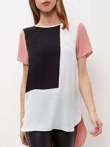 Spring Summer  Polyester  Women  Round Neck  Asymmetric Hem Patchwork  Plain Short Sleeve T-Shirts