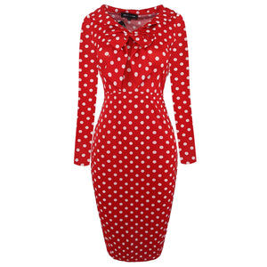 Elegant Bow-Knot Dot Slim Dress
