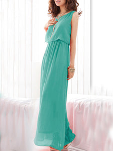 Round Neck  Fashion Plain Maxi Dress