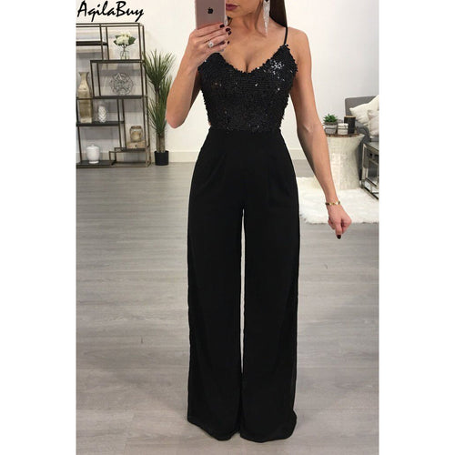 Sequins Stitching Halter Sexy V Collar Sleeveless Jumpsuit