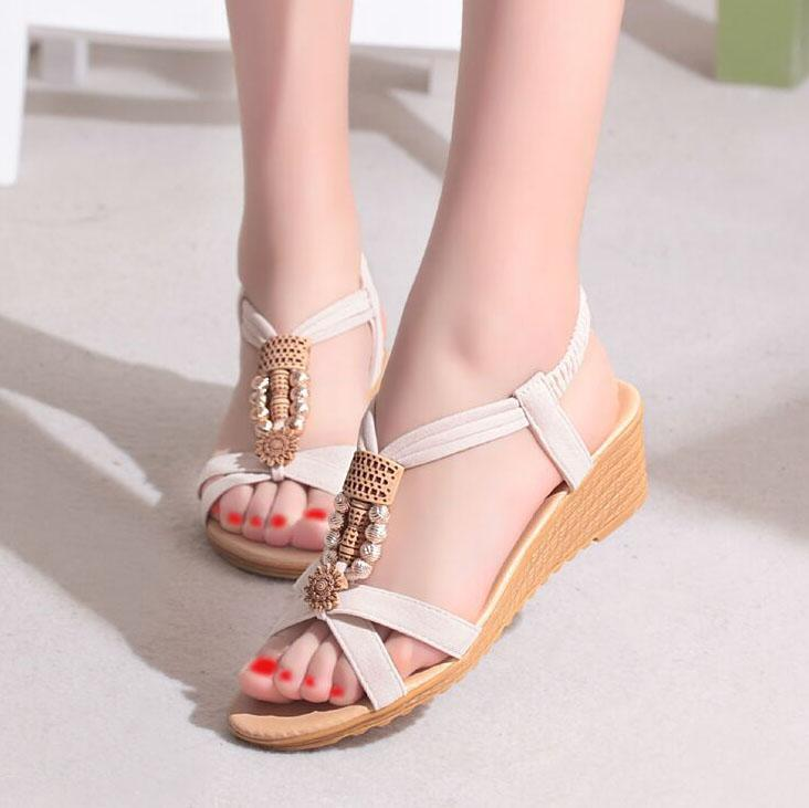 Bohemian  Mid Heeled  PU  Casual Sandals