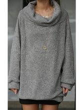 Autumn Spring  Cotton Blend  Cowl Neck  Plain  Long Sleeve Sweatshirts