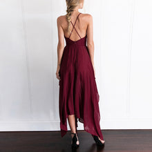 Sexy Deep V Collar Strap Sleeveless Irregular Vacation Dress