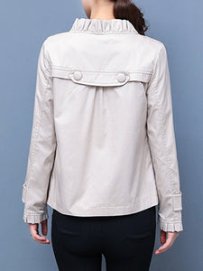 Ruffle Trim  Plain  Long Sleeve Jackets