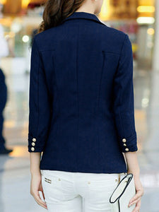Notch Lapel  Flap Pocket  Single Button  Plain  Long Sleeve Blazers