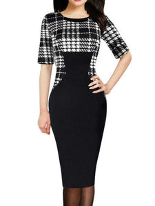 Round Neck  Plaid Bodycon Dress