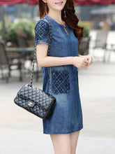 Round Neck  Patch Pocket Shift Dress