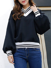 Autumn Spring  Cotton Blend  Plain Striped  Long Sleeve Sweatshirts