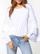 Autumn Spring  Polyester  Women  Round Neck  Flounce  Plain  Long Sleeve Blouses