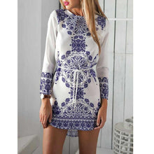 Blue And White Porcelain Long-Sleeved Dress