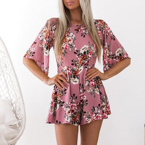 Cute Floral Printed Casual Short Jumpsuit