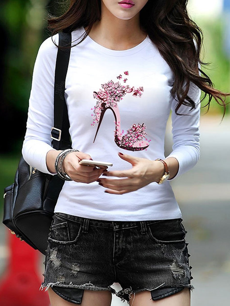 Autumn Spring  Polyester  Women  Narrow Notch Lapel  Floral Printed Long Sleeve T-Shirts