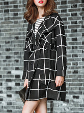 Lapel  Double Breasted  Belt  Plaid  Long Sleeve Trench Coats