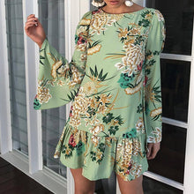 Lotus Leaf Long-Sleeved Printed Expansion Vacation Dress