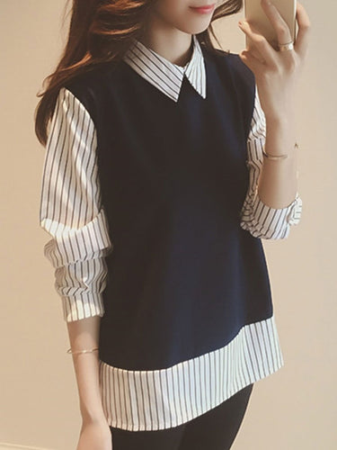Autumn Spring  Cotton  Women  Turn Down Collar  Patchwork  Fake Two-Piece  Striped  Long Sleeve Blouses
