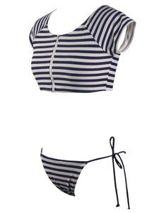 Women Sexy Push Up Striped High Neck Bikini