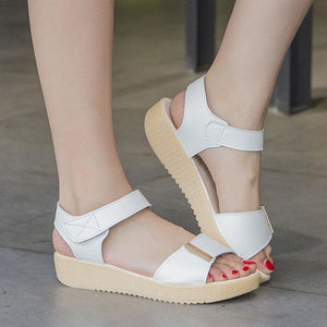 Plain  Flat  PU  Casual Sandals