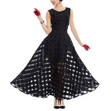 Black Plaid Sleeveless Tank A-Line Party Bohemian Long Dress