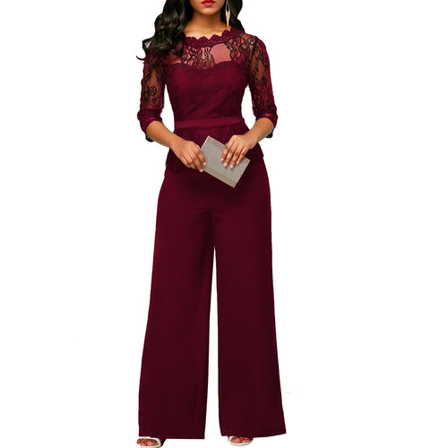 Sexy Lace Splicing 3/4 Sleeve Jumpsuit