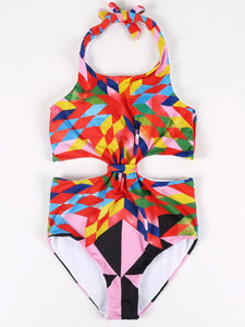 Geotric Corlorful Backless One Piece